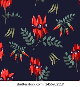 hand drawn australia native wild flower swainsona formosa or sturt desert pea seamless pattern on dark blue background