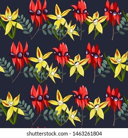 hand drawn australia native wild flower swainsona formosa or sturt desert pea,cowslip orchid seamless pattern on dark blue background