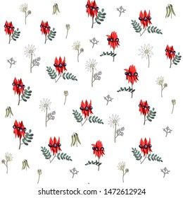 hand drawn australia native wild flower swainsona formosa or sturt desert pea and flannel seamless pattern on white background