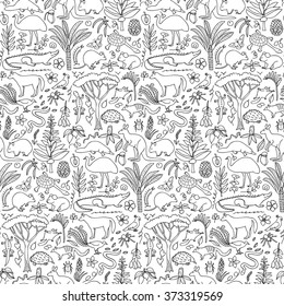 Hand drawn Australia seamless pattern. Vector illustration of seamless pattern with Australian animals and plants