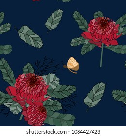 Hand drawn australia waratah flower seamless pattern