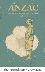 Hand drawn of Australian soldier salutes with a poppy flower on the background.