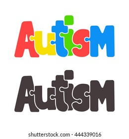 Hand Drawn Autism Lettering In Cartoon Style With Jigsaw Puzzle Motif