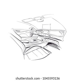 Hand drawn automobile interior. Car of the future. Vector illustration.