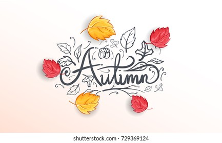Hand Drawn Autumn calligraphy for Background Template, Web Banner, shopping sale or  seasonal poster, Postcard and Invitation card. Vector illustration eps.10