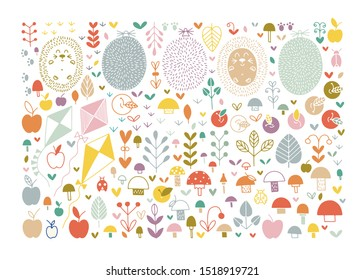 Hand drawn autumn fall illustration. Vector autumn cartoon elements set with fall leaves, cute autumn animals, birds, insects, plants, mushrooms, apples, flying kites, hedgehogs. Hello Autumn.
