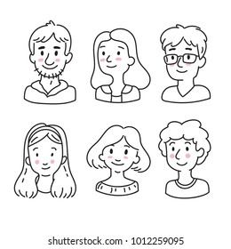 Hand drawn avatars for social media in doodle style. Smiley men and woman face icons. Cute people portraits set.
