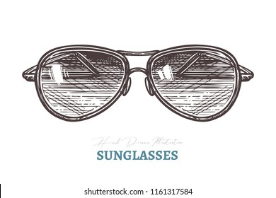Hand drawn aviator sunglasses. Isolated vector illustration in sketch engraving style