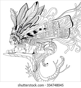 Hand drawn aztec tiger adult coloring book coloring page isolated on white