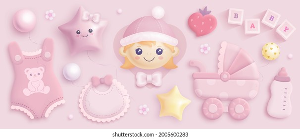 Hand drawn baby girl shower set. Realistic vector illustration of cartoon baby girl, helium balloons, baby carriage, clothes, toys and flowers isolated on pink background