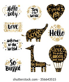 Hand Drawn Baby Lettering Overlay. Kids Quote. Birth Announcements lettering Set in Vector.Baby Lettering photography