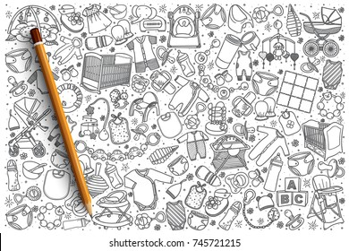 Hand drawn baby shop vector doodle set background