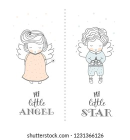 Hand drawn baby shower with cute angels. boy with star in hands and girl with magic wand in arm. Cute kids card print template. Poster or tee print design vector illustration.