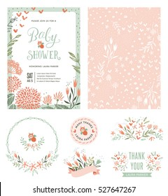 Hand drawn Baby Shower invitation with seamless background and floral typographic design elements. Vector illustration.