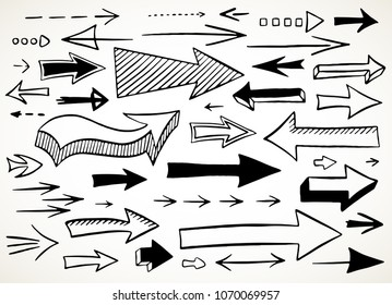 Hand drawn back and forth arrows set. Collection of symbols in black isolated over white background. Vector illustration.
