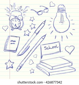Hand drawn back to school. Alarm Clock, glasses light, diary, pencil, book heart star. Vector illustration