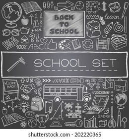 "Hand drawn ""Back to School"" theme icons set. Vector Illustration."