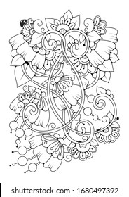 Fondo dibujado a mano. Colorante libro, página para adultos y niños mayores. Patrón floral abstracto en blanco y negro. Ilustración vectorial.
