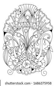... Fondo dibujado a mano. Colorante libro, página para adultos y niños mayores. Patrón floral abstracto en blanco y negro. La ilustración de su hobby - colorear imágenes. Se puede utilizar como tatuaje o como