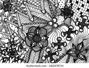 Hand drawn backdrop pattern with flowers, tracery, pearls and shoelace in doodle style. Black vector illustration on white background