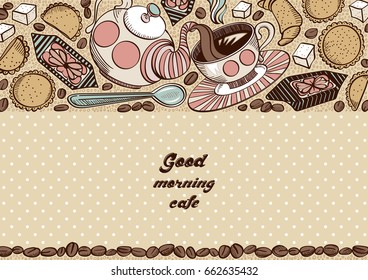 Hand drawn background with cookies, coffee beans, croissant, sweets and sugar