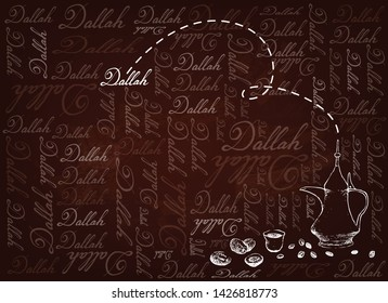 Hand Drawn Background of Dallah or Traditional Turkish Coffee Pot