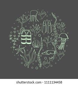Hand drawn  background with diving and scuba equipment, sea life. Scuba-diving elements isolated. Marine symbols. Diving equipment.