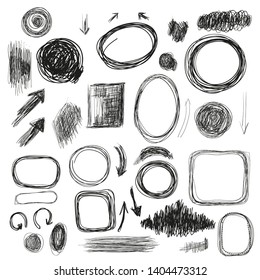 Hand drawn background and elements set with textures and arrrows. Vector graphic illustration