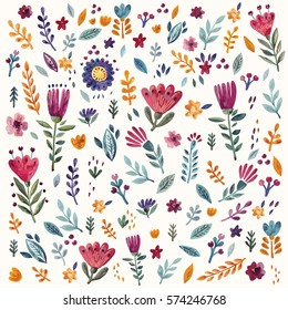 Hand drawn background with flowers and leaves. Hand drawn vector pattern hand painted