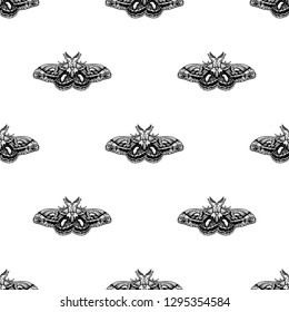Hand drawn background with moth. Vector seamless pattern with bloodworm. Butterfly in vintage style. Doodle line graphic design. Black and white drawing insect. Vector sketch.
