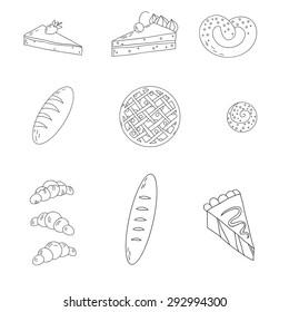 Hand drawn bakery doodles vector set