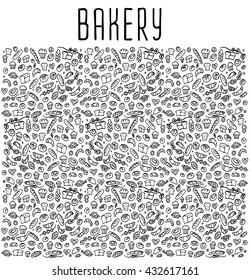 Hand drawn bakery seamless logo, doodles elements, background. Vector sketchy illustration