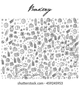 Hand drawn bakery seamless logo, doodles elements, seamless background. Vector sketchy illustration