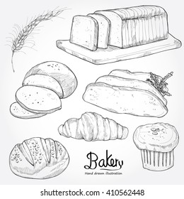 hand drawn bakery set.