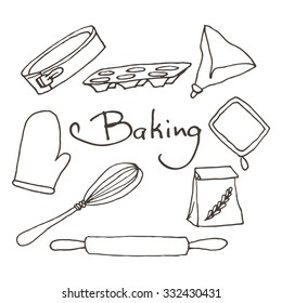 Hand drawn baking tools set. Bakery vector elements sketch. Excellent for creating your own menu design.