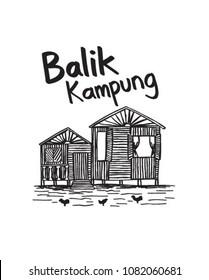 Hand drawn balik kampung malaysia culture for holiday