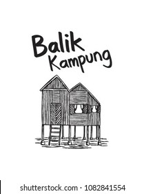 Hand drawn balik kampung malaysia culture for holiday