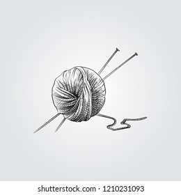 Hand Drawn Ball of knitting wool and knitting needles Sketch Symbol isolated on white background. Vector of Knitting elements In Trendy Style