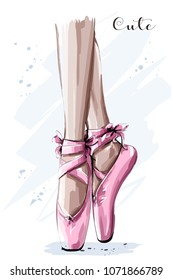 Hand drawn ballet dancer legs in pointe shoe. Sketch. Vector illustration.
