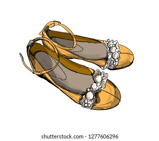 Hand drawn ballet flats. Fashion girl's footwear. Shoes icon.