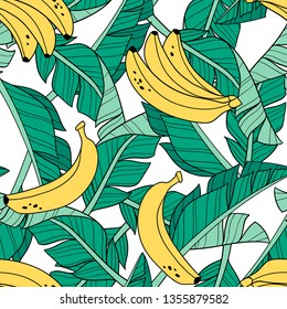 Hand drawn banana leaves and bananas on white background. Seamless vector pattern. Perfect for fabric, wallpaper or wrapping paper.