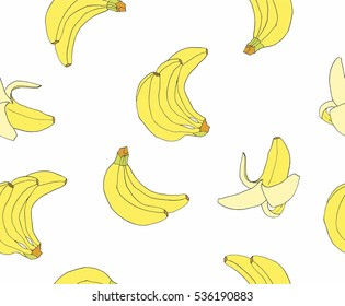 Hand drawn bananas seamless pattern. Background fruits. Tropical fruits texture. Can be used for menu, cafe, bar, poster, wrapping paper, banner and other design.
