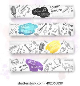 Hand drawn banner template. Music doodles. Vector illustration.