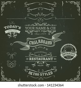 Hand Drawn Banners And Ribbons On Chalkboard/ Illustration of a set of hand drawn sketched banners, ribbons for food, restaurant and beverage design elements on chalkboard background