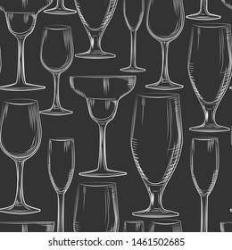 Hand drawn bar glassware seamless pattern. Engraving style. Alcoholic beverage glasses design on black background. Empty glasses backdrop. vector illustration