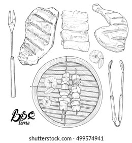 hand drawn barbecue and grill vector Illustration set.