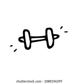 Hand drawn barbell doodle icon. Hand drawn black sketch. Sign symbol. Decoration element. White background. Isolated. Flat design. Vector cartoon illustration.