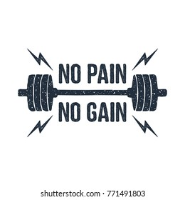"""Hand drawn barbell textured vector illustration and """"No pain - no gain"""" inspirational lettering."""