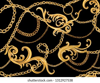 Hand drawn baroque striped vector pattern with golden chains and baroque elements. Vintage patch for scarfs, print, fabric.