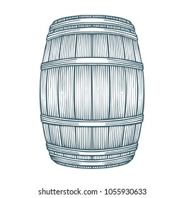 Hand drawn barrel illustration in engraving style.  Vintage whiskey, wine or beer barrel isolated on white background.
